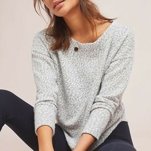 NEW Anthropologie silver leopard pullover sweater